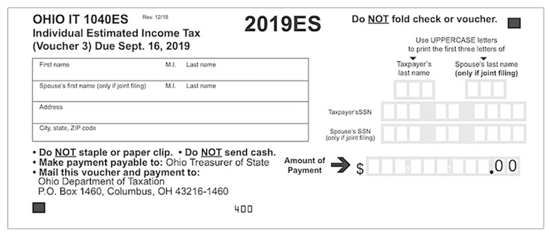 State quarterly estimated tax voucher example.