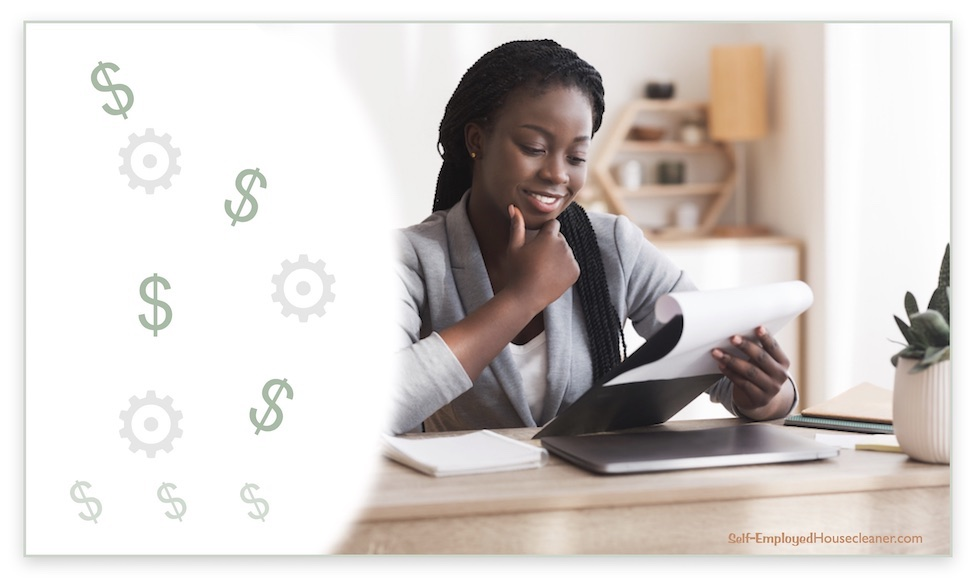 Cleaning business owner pleased with review of her money system.